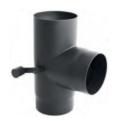 Trójnik dwuprzepływowy kominowy czarny 90
