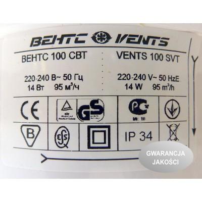 Wentylator osiowy SVT wyłącznik czasowy + wyłącznik sznurkowy VENTS