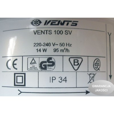 Wentylator osiowy SV wyłącznik sznurkowy VENTS