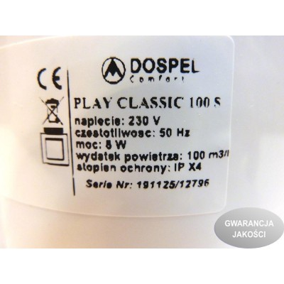 Wentylator osiowy PLAY CLASSIC fi 100 S standard DOSPEL