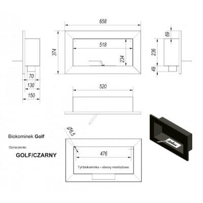 biokominek GOLF 490x85 mm