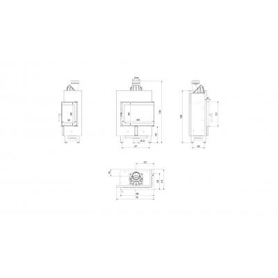 Wkład kominkowy LUCY 12 SLIM prawy (szyby łączone bez szprosu)