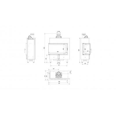 Wkład kominkowy LUCY 14 SLIM lewy (szyby łączone bez szprosu)