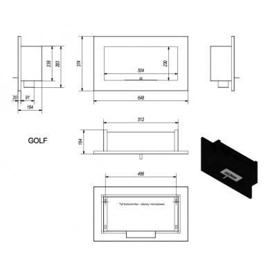 Biokominek GOLF czarny QUBE 648x374mm