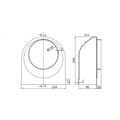 KOLANO nimośrodowe  PVC 220x90 fi 150