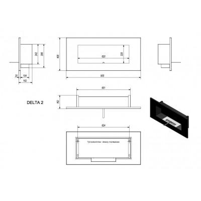 Biokominek DELTA 2 czarny 400x900