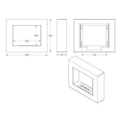 Biokominek 506x403 mm czarny box