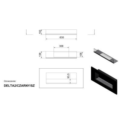 Biokominek DELTA 2 czarnym z szybą 400x900