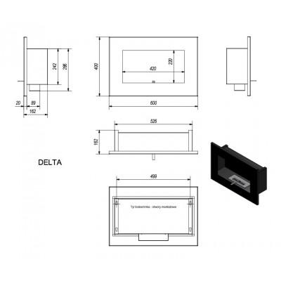 Biokominek DELTA czarny 400x600
