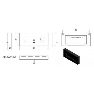 Biokominek DELTA FLAT czarny 400x900