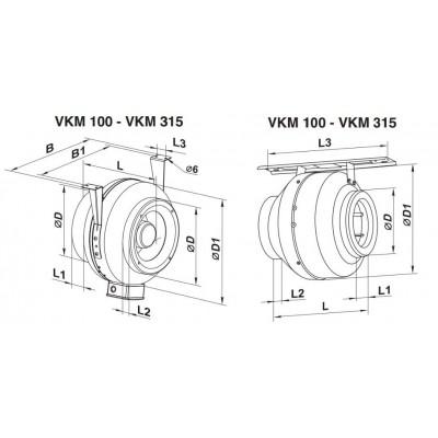 Wentylator kanałowy odśrodkowy VKM