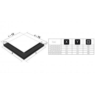 Kratka kominkowa LUFT SF narożny lewy czarny 76,6x54,7x9