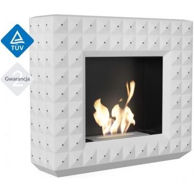 Biokominek EGZUL z kryształami Swarovski biały mat 1130x973 z biopojemnikiem TÜV