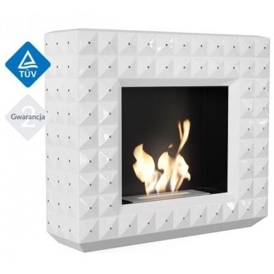 Biokominek EGZUL z kryształami Swarovski biały połysk 1130x973 z biopojemnikiem TÜV
