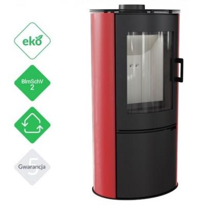 Piec KOZA AB S 8 kW fi 150 czerwony z panelami kaflowymi