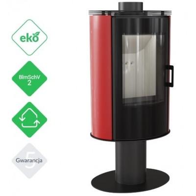 Piec KOZA AB S/N/O 8 kW fi 150 czerwony obrotowy z panelami kaflowymi i szybą GLASS