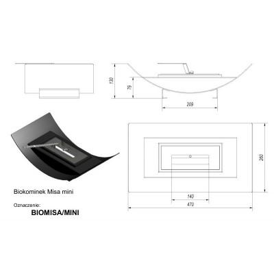 Biokominek MISA MINI 470x260 mm czarny