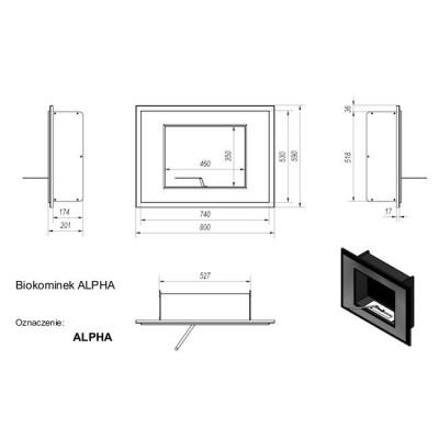 Biokominek ALPHA 800x590 mm czarny