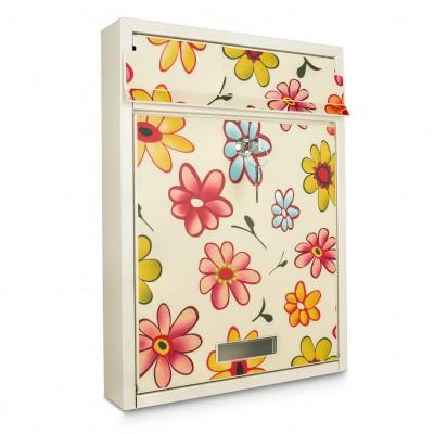 Skrzynka na listy prostokątna z wzorem w kwiaty 7 I KWIAT