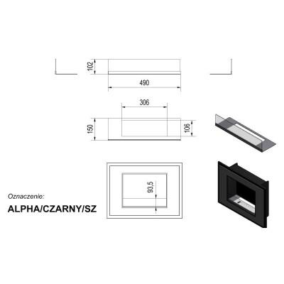 Biokominek ALPHA 800x590 mm czarny z szybą