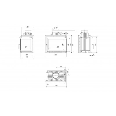 Wkład kominkowy SMART M/S 8 prawy (szyby łączone bez szprosu)