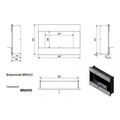 Biokominek BRAVO 900x652 mm czarny