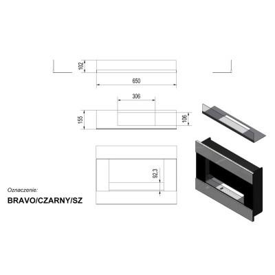 Biokominek BRAVO 900x652 mm czarny z szybą