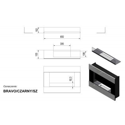 Biokominek BRAVO 900x652 mm szlif z szybą