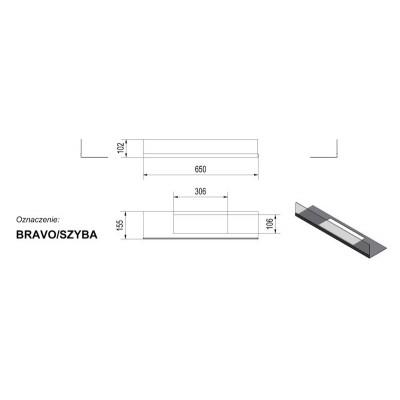 Przeszklenie do biokominka BRAVO, komplet: szyba + podstawa