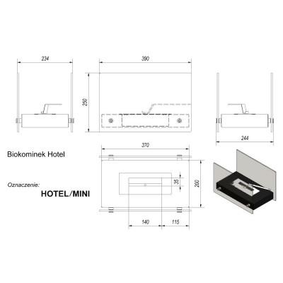 Biokominek HOTEL MINI 390x250 czarny