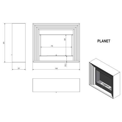 Biokominek PLANET 1150x975 mm biały PROMOCJA
