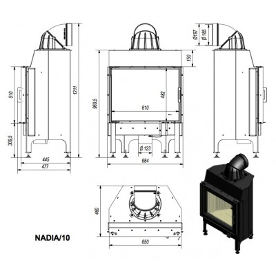 Wkład kominkowy 10 kW NADIA 10
