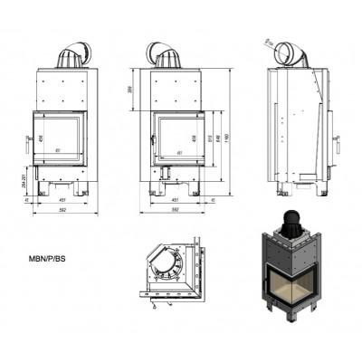Wkład kominkowy 12 kW MBN P BS prawy (szyby łączone bez szprosa)