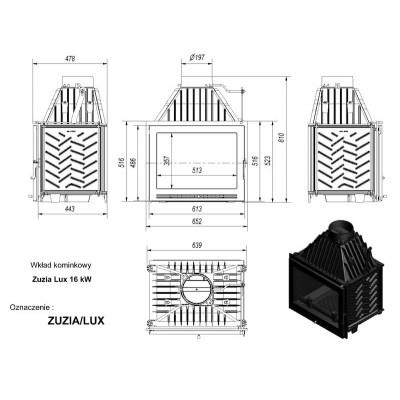 Wkład kominkowy 16 kW ZUZIA LUX 16