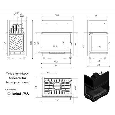 Wkład kominkowy 18 kW OLIWIA lewy (szyby łączone bez szprosa)